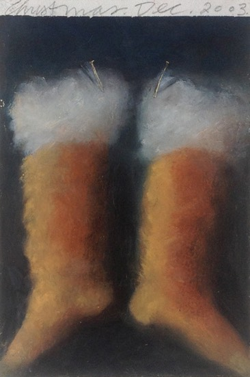 painting of Christmas stockings