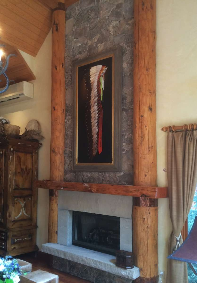 Headdress painting by Chuck Sabatino at a home in Aspen, Colorado