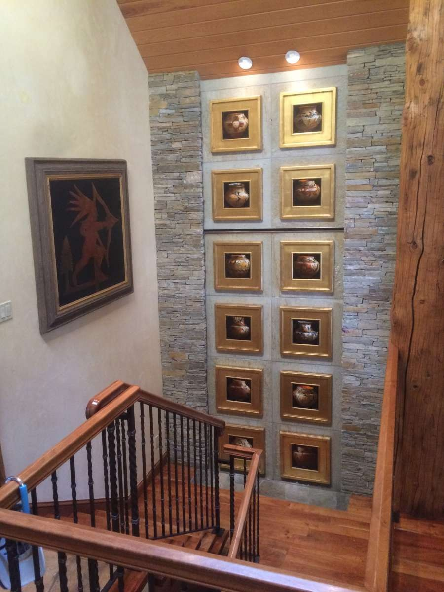 collection of pot paintings by Chuck Sabatino in Aspen, Colorado