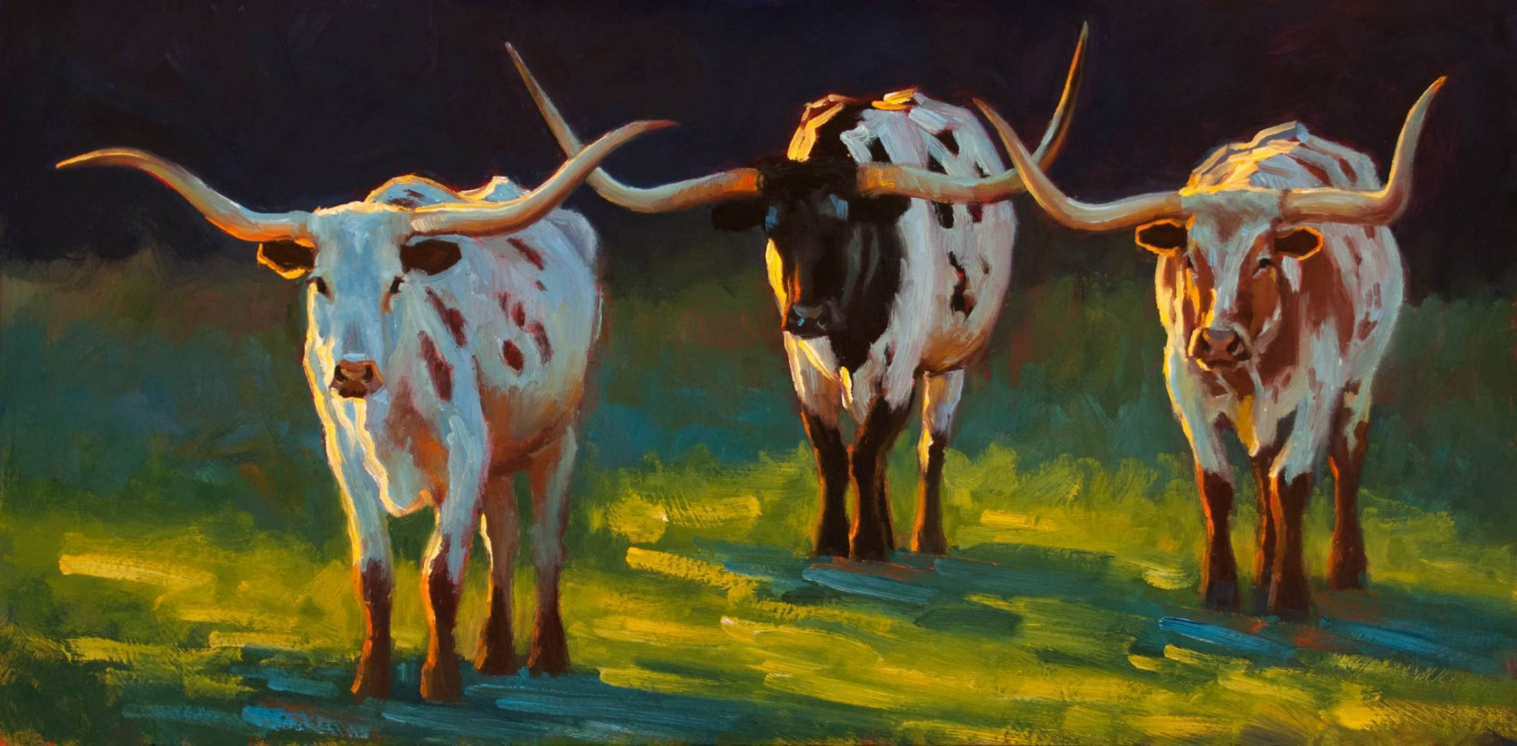 Crossed Paths painting of three longhorns by Cheri Christensen