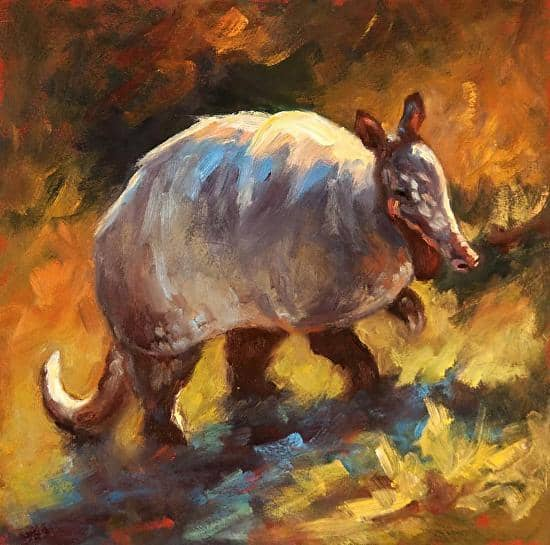 Digger painting of an armadillo by artist Cheri Christensen