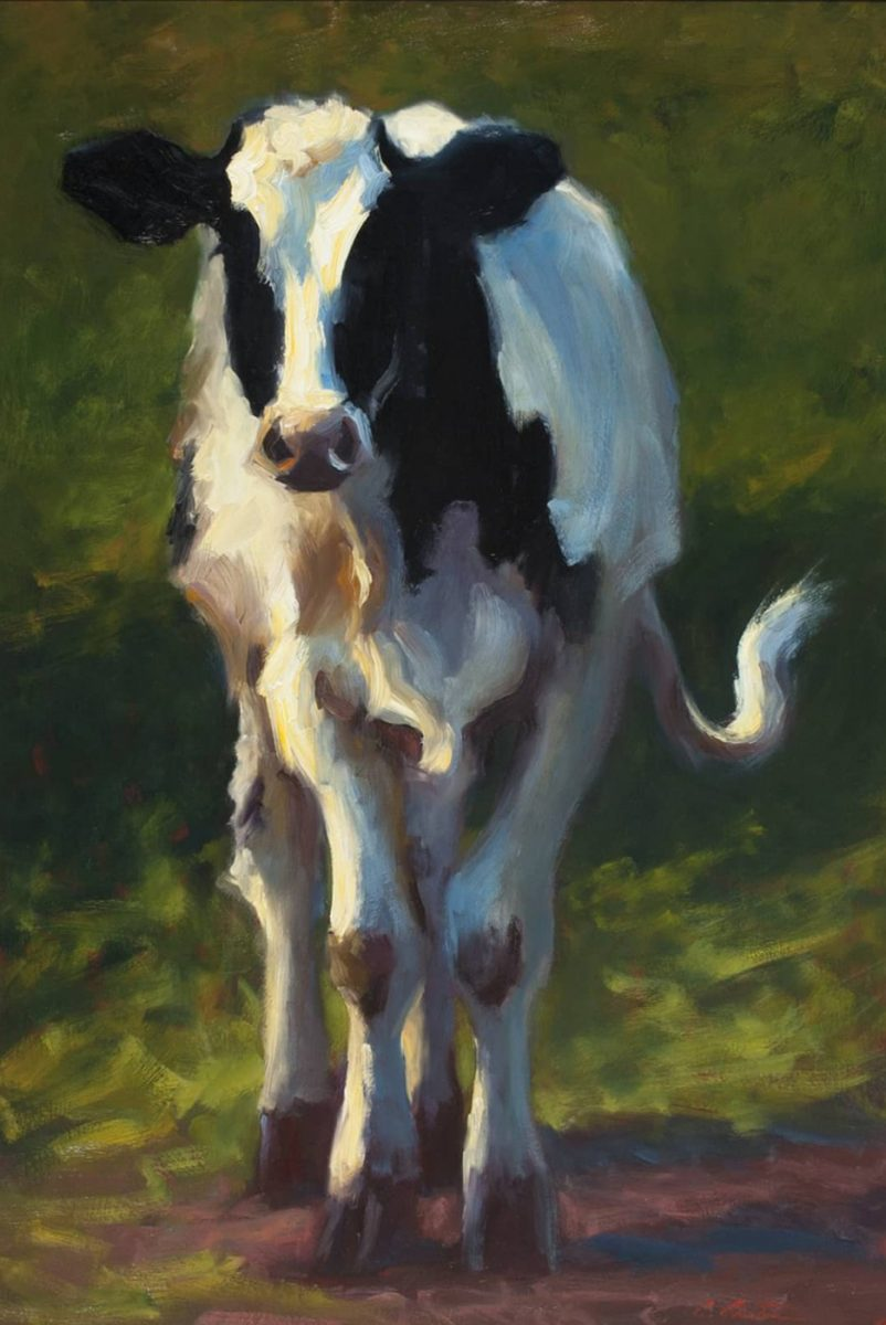Holstein in Spring painting by Cheri Christensen