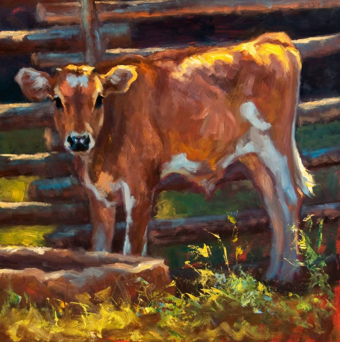 """Innocence of Spring"" painting of a calf by artist Cheri Christensen"