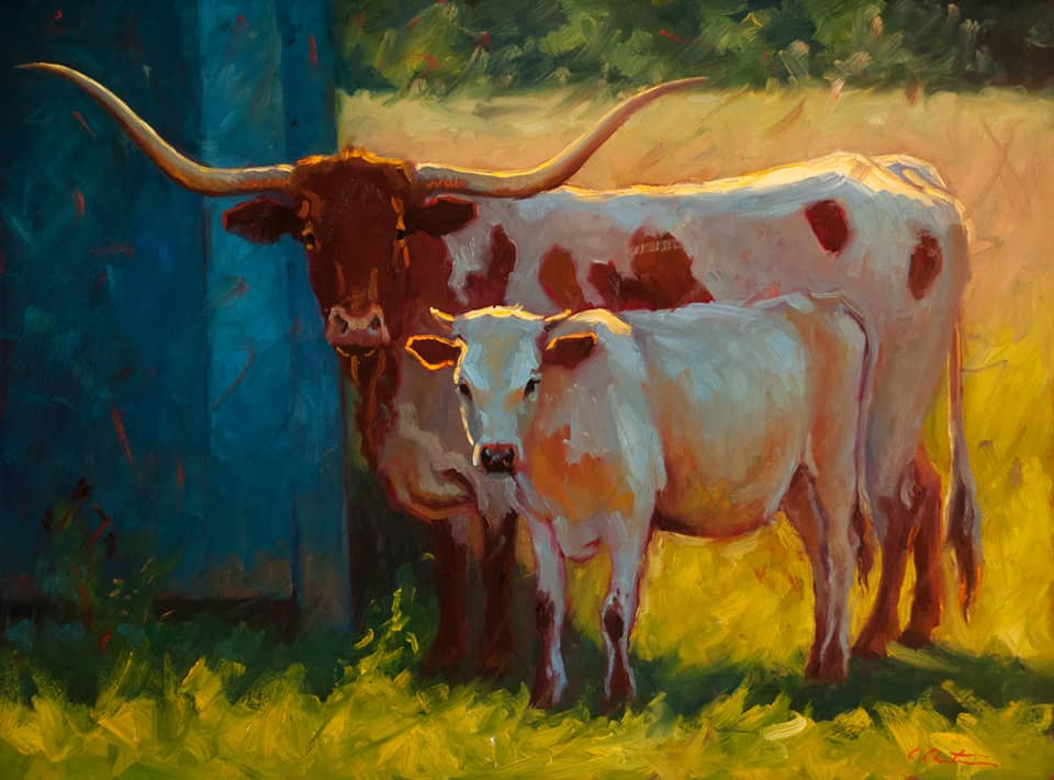 painting of a longhorn and calf by Cheri Christensen