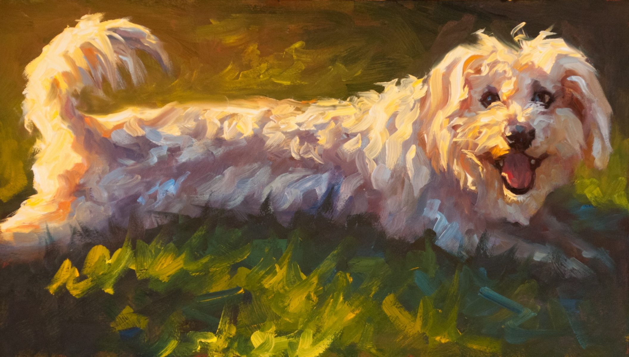 Lucky painting of a dog by artist Cheri Christensen