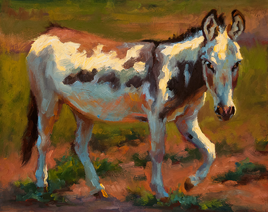 Snickers in the Afternoon donkey painting by Cheri Christensen