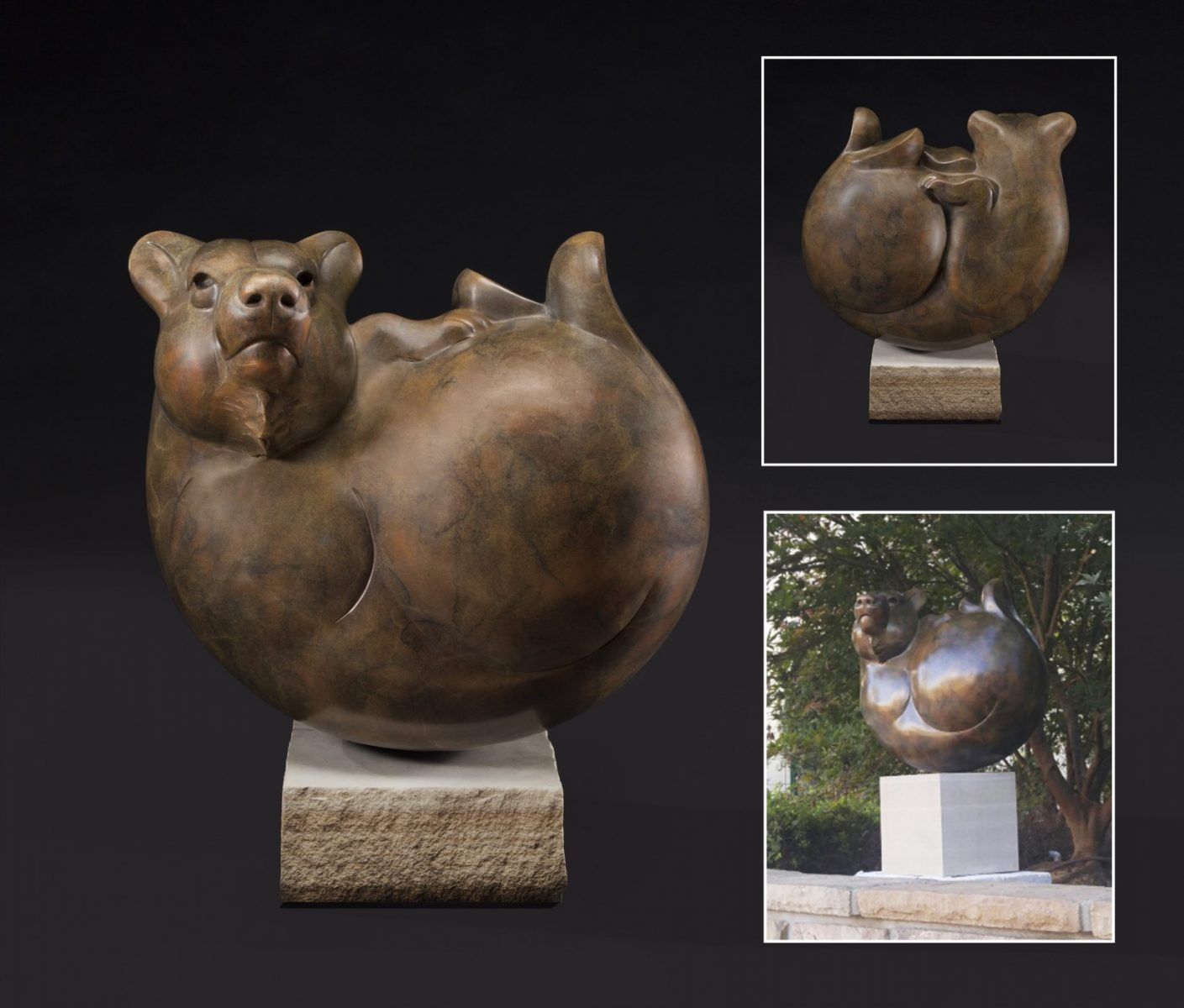 Bear Ball bronze bear sculpture by Tim Cherry