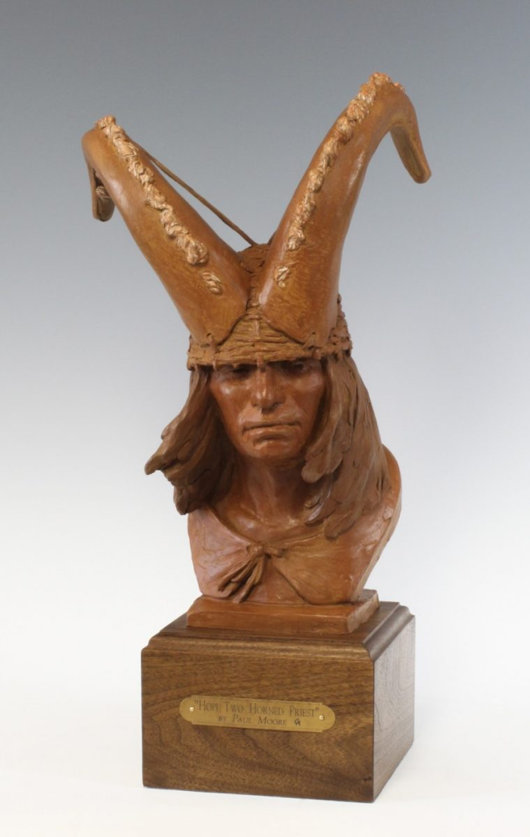 Hopi Two Horned Priest sculpture by Paul Moore