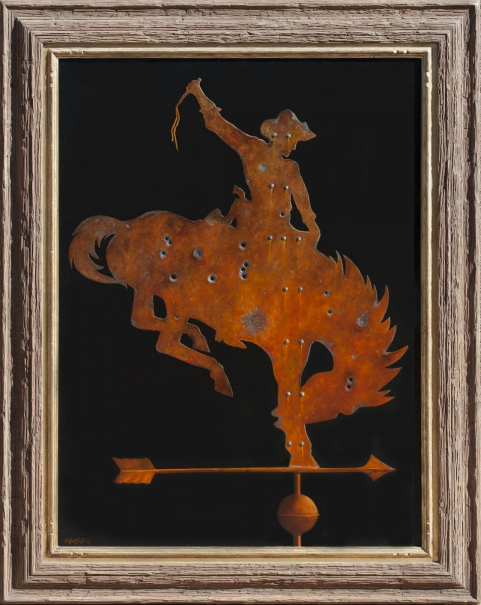 Bronco Buster Weathervane painting by Chuck Sabatino