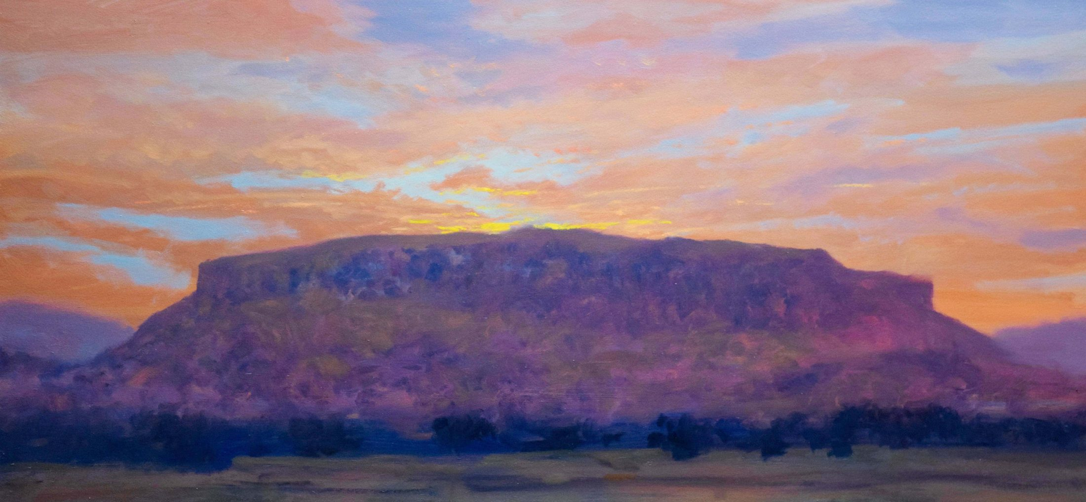 Dawn Black Mesa oil landscape painting by Raymond Knaub