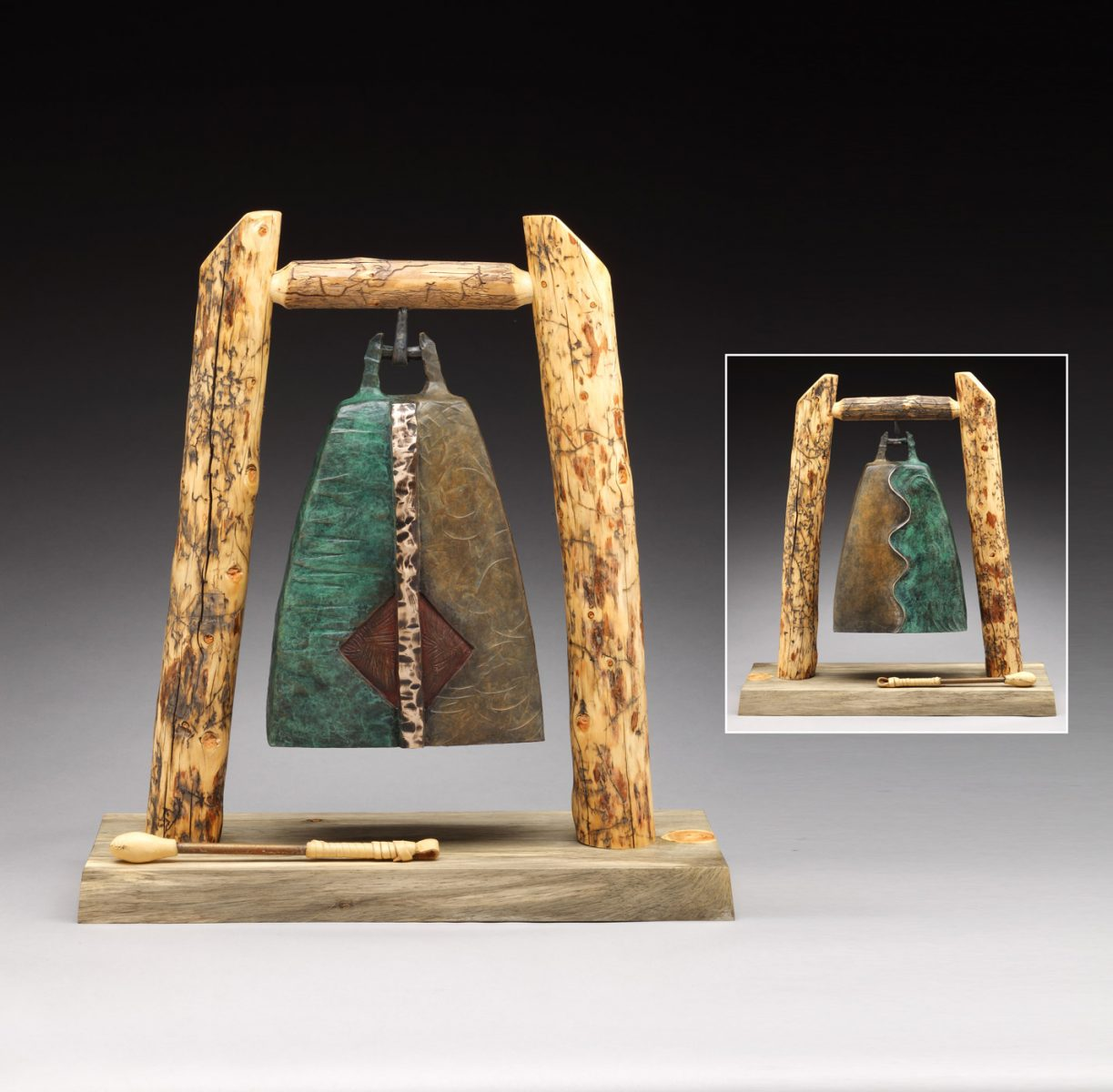 bronze bell tabletop sculpture by JG Moore