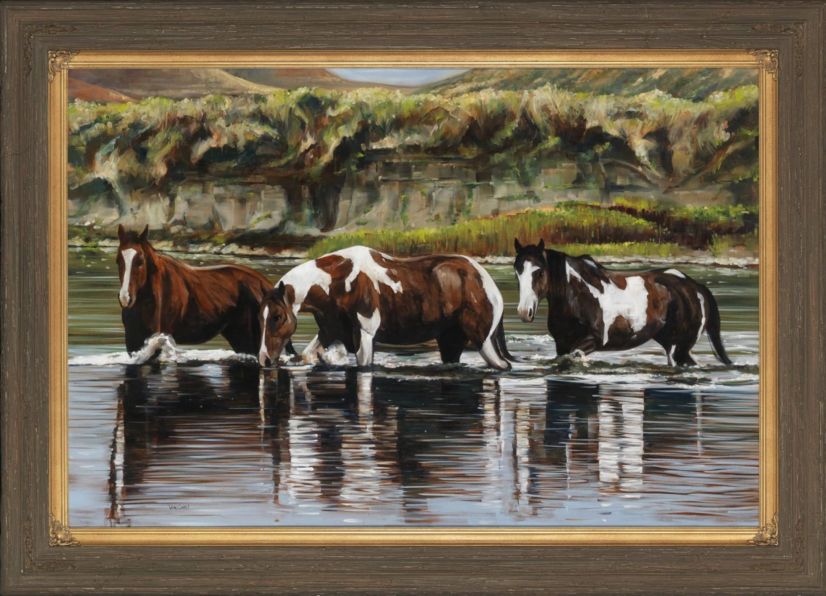 Friendship painting of horses by artist Paul Van Ginkel