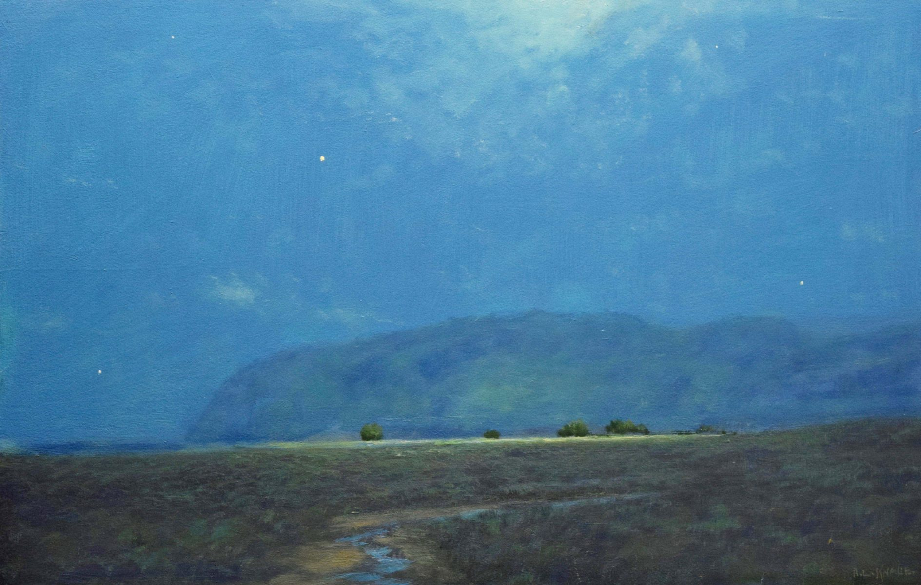 Moon and Stars oil landscape painting by Raymond Knaub