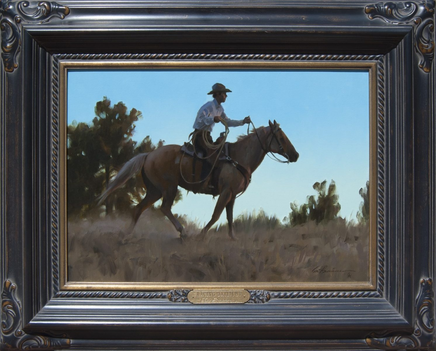 Racing Daylight cowboy painting by Tom Browning