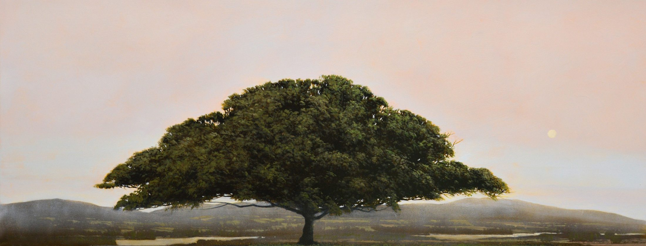 Shanendoah painting of a tree with a pink sky by artist Robert Marchessault