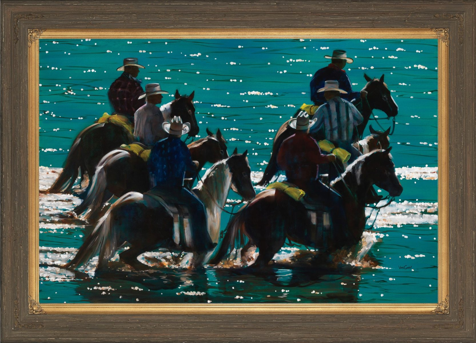 Six on Six turquoise painting by Paul Van Ginkel