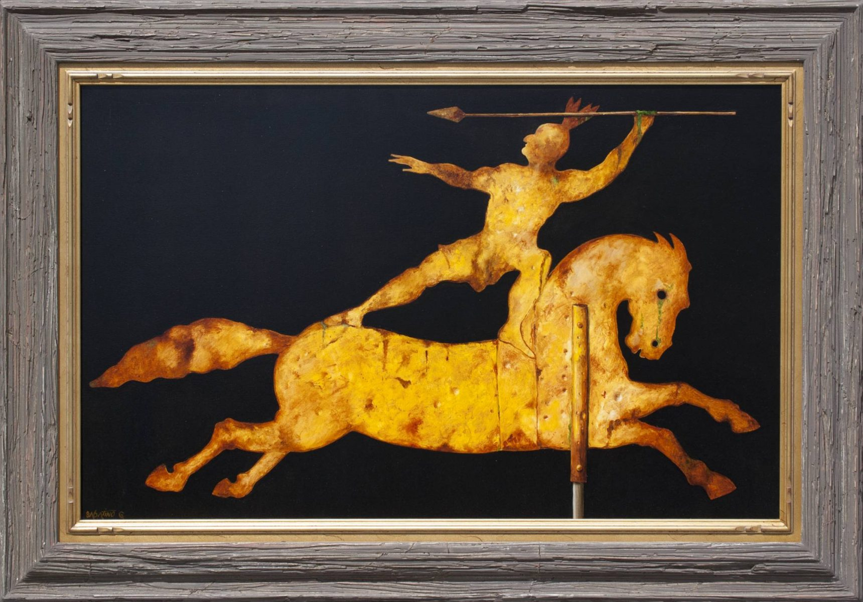 Vintage Gilt Decorated Indian on Running Horse by artist Chuck Sabatino