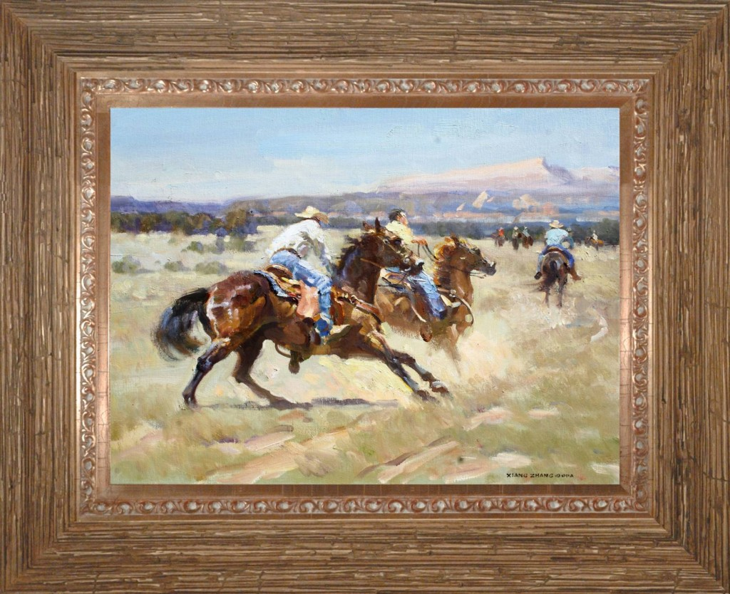 Western oil painting by Chinese cowboy artist Xiang Zhang