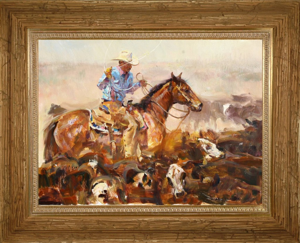 Western painting by cowboy artist Xiang Zhang
