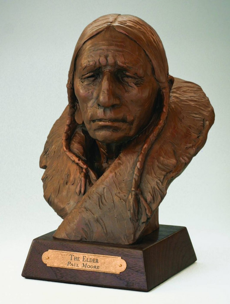 native american bronze sculpture by Paul Moore