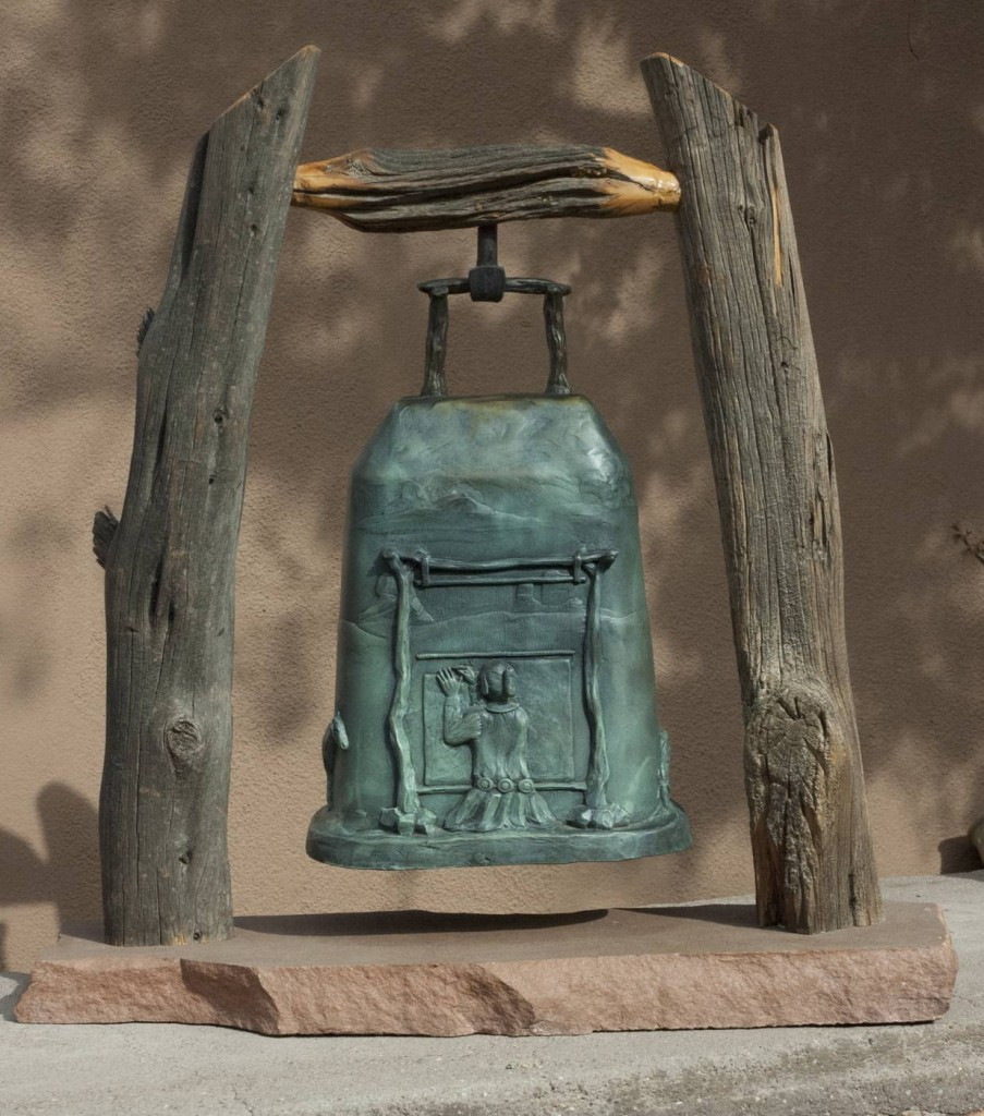 bronze bell sculpture by JG Moore