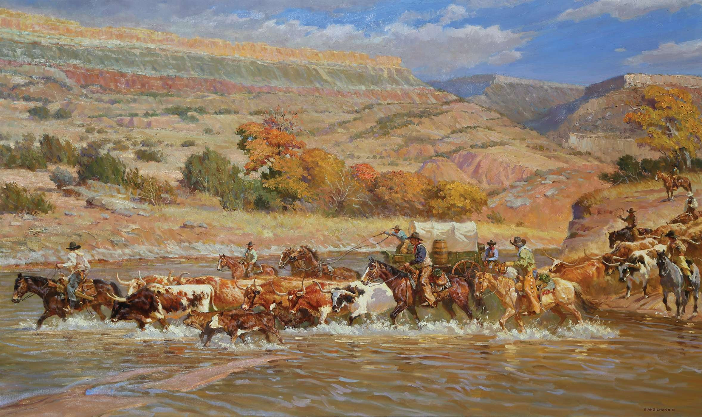 Western Oil Painting of Palo Duro cattle drive by Xiang Zhang