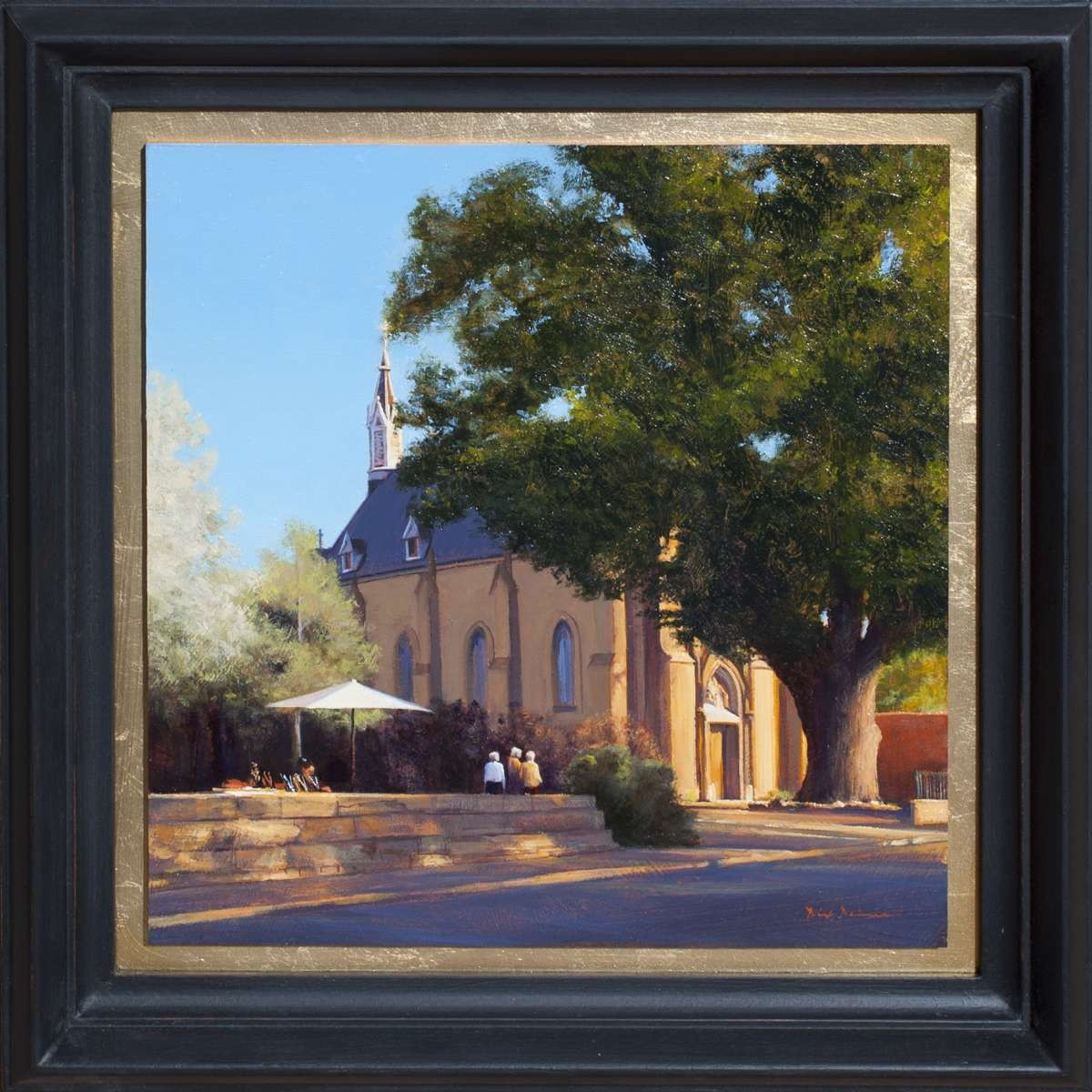 painting of the Loretto Chapel in Santa Fe by Dix Baines