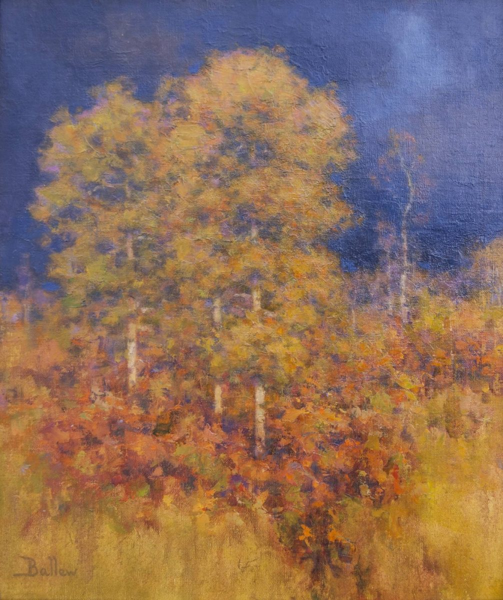 Painting of aspens by oil landscape painter David Ballew