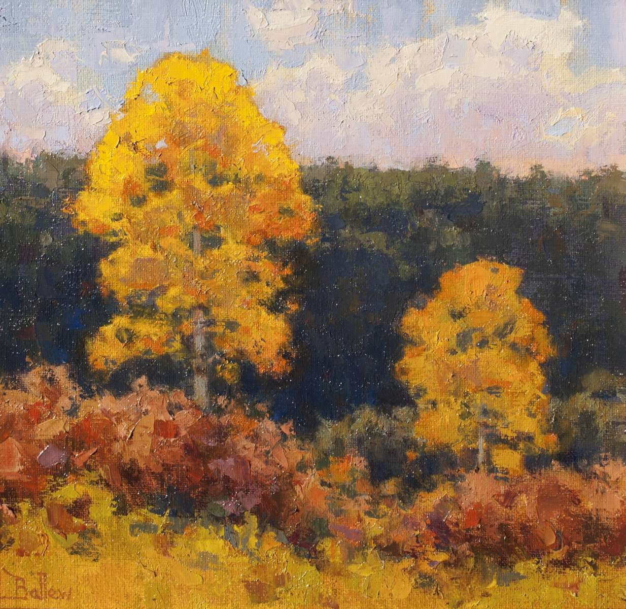 October Oaks and Aspens by David Ballew