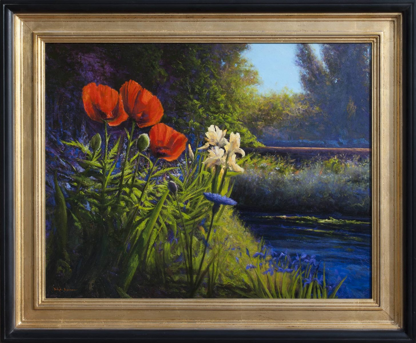Poppies Red with Dappled Blues painting by Dix Baines