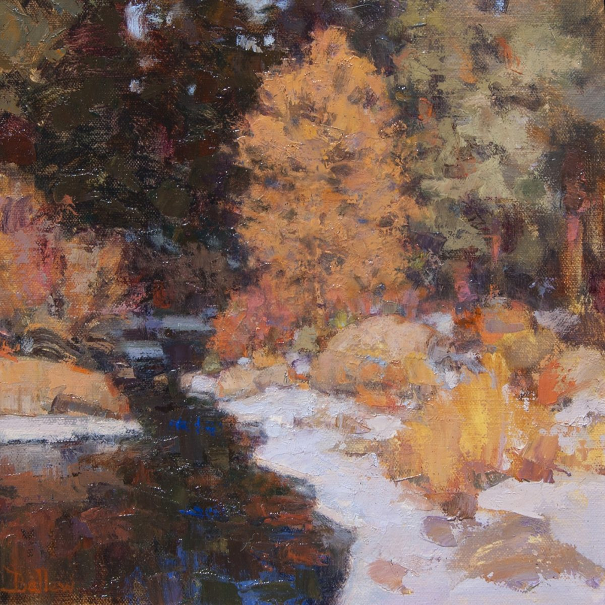 Spring Snow Bear Creek Painting by David Ballew