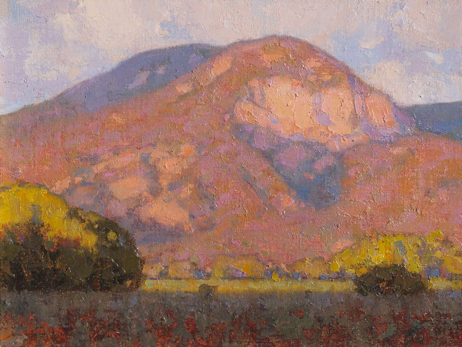 Oil painting of alpenglow on Taos Mountain in New Mexico by David Ballew