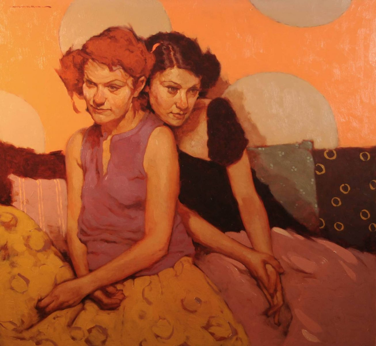 Two Women painting by Joseph Lorusso