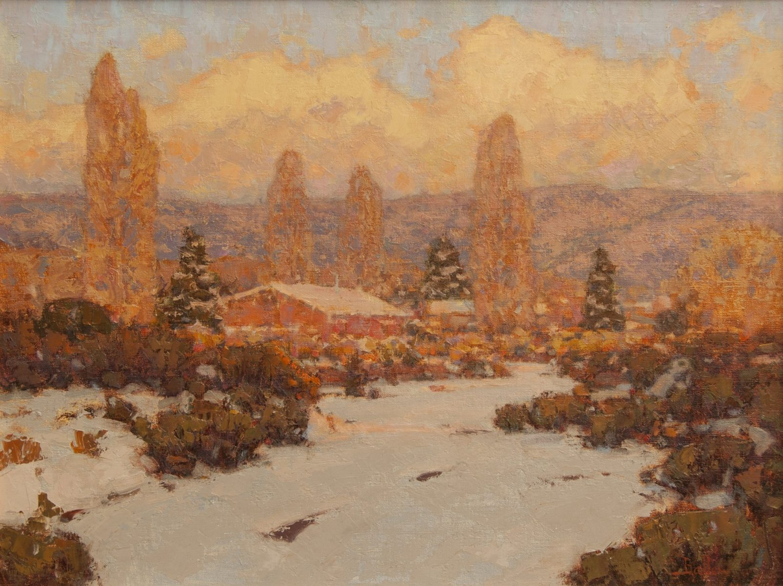 Winter Warmth, Santa Fe painting by David Ballew