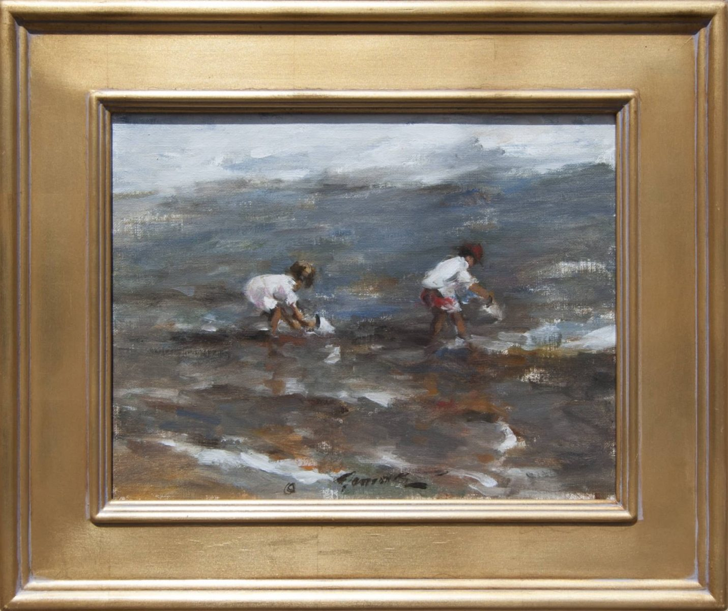 painting of kids at the beach by artist Ramon Kelley
