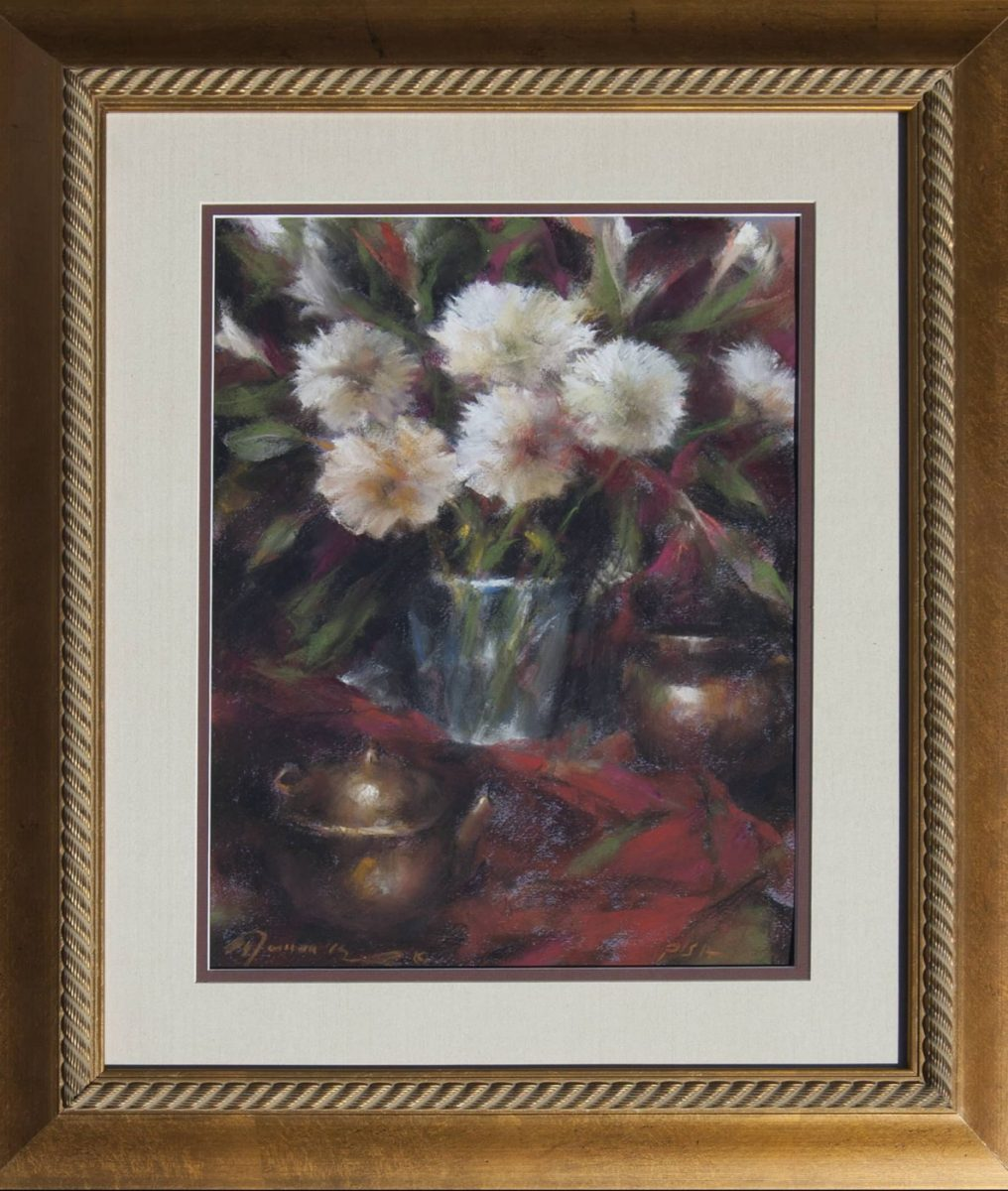 Flowers and Glass Vase pastel still life by artist Ramon Kelley