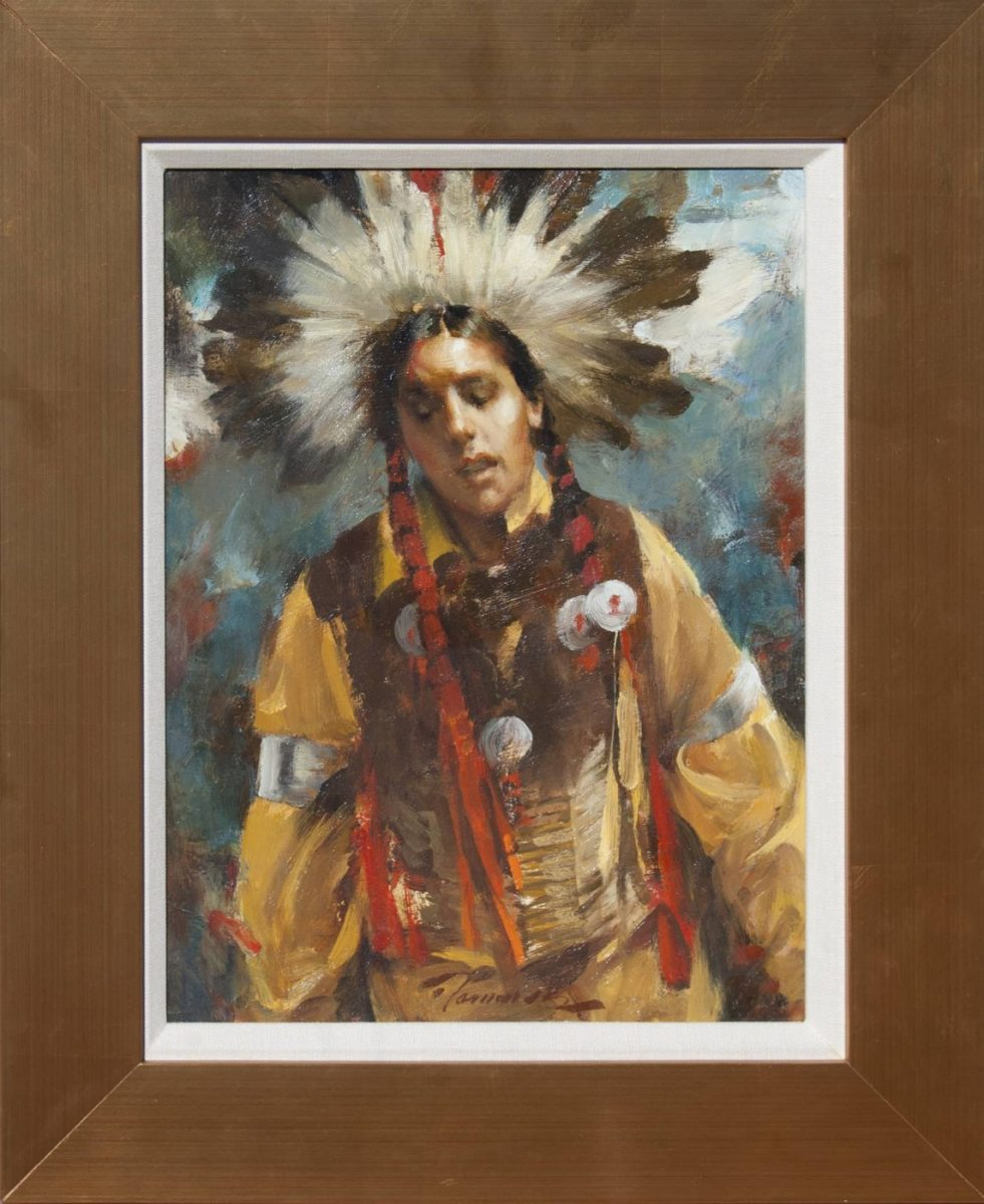 painting of a Sioux man chanting by artist Ramon Kelley