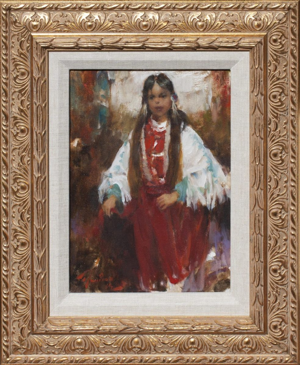 Young Crow Girl painting by artist Ramon Kelley