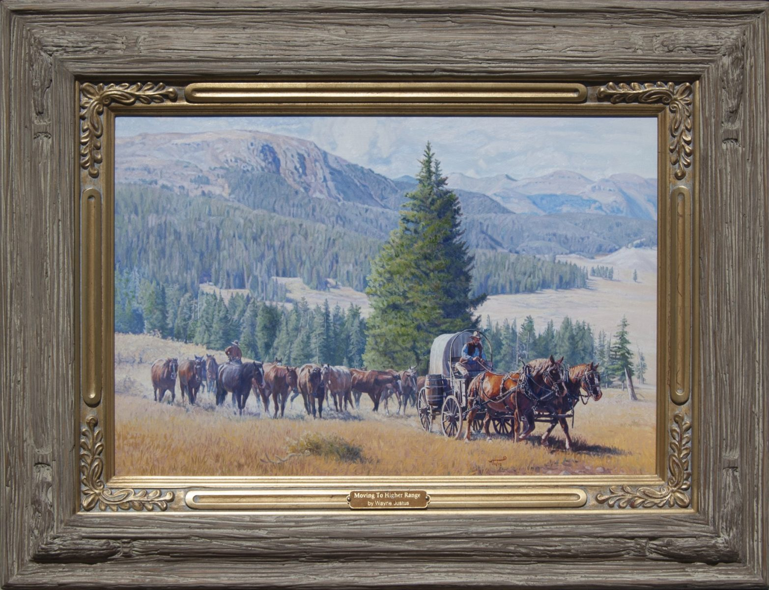 Painting of a covered wagon procession by artist Wayne Justus