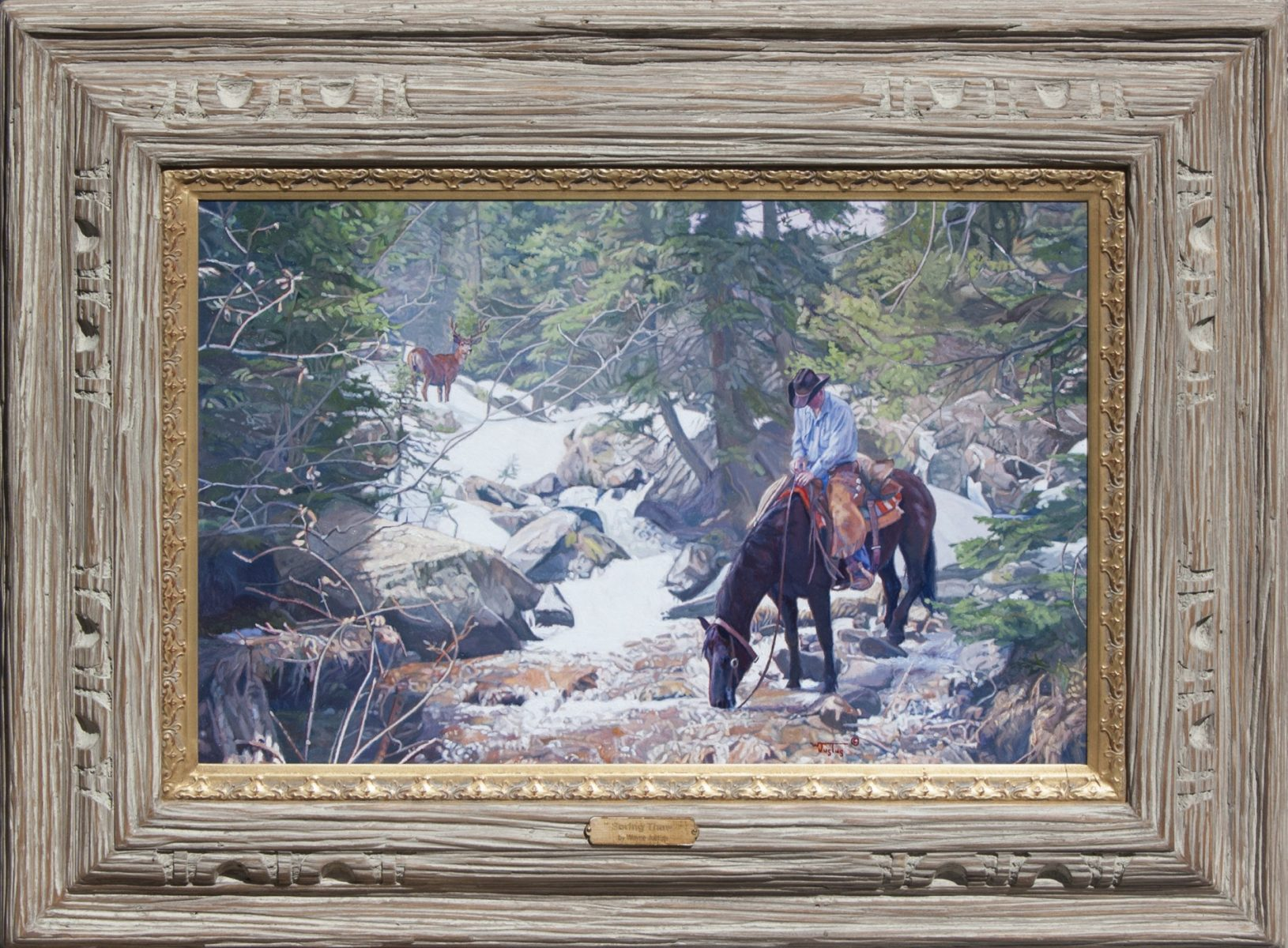 Spring Thaw painting of cowboy and horse by river by artist Wayne Justus